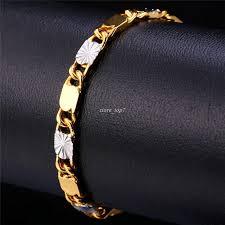 men gold tone bracelet images Two tone gold bracelet men jewelry gold color trendy 6 mm 20 cm jpg