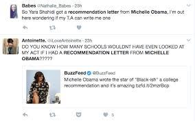 michelle obama wrote yara shahidi u0027s recommendation letter