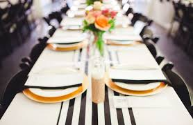 black white striped table runner modern downtown wedding amanda kjirk gold chargers wedding and