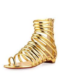 christian louboutin catchetta metallic gladiator sandal gold in