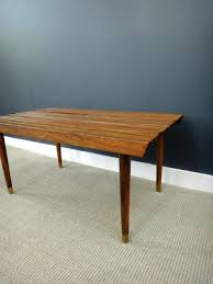 wood slat coffee table bench mid century modern for interior