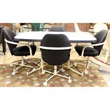 Dining Room Chairs With Casters by Black Fabric Chairs With White Frame Also White Crossed Legs Plus