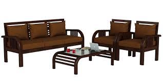 Buy Europa Teak Wood Sofa Set  In Mahogany Finish By - Teak wood sofa sets