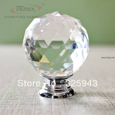 2x40mm clear round glass cabinet drawer crystal knobs and handles