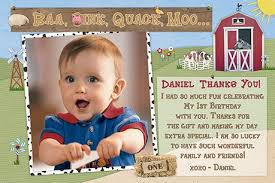 birthday thank you card barnyard birthday thank you cards