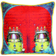 vibrant red poly dupion cushion cover from the exclusive home cushion cover designer bright colorful kitsch decor taxi