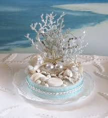 seashell beach wedding cake topper pearl coral wedding cake topper