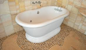 magnificent white porcelain freestanding bathtubs over grey river