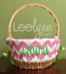 easter basket liners personalized personalized easter basket liner yellow chevron by leelynncrafts