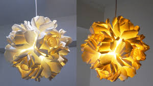 Flower Pendant Light Paper Cup Rose Pendant Diy How To Make A Hanging Light From
