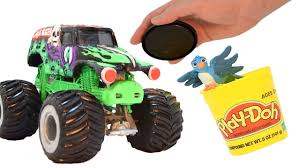 monster truck videos please grave digger monster truck play doh stop motion claymation videos