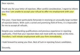 Regret Letter Unable To Join dear rejector thank you for your letter of rejection after careful