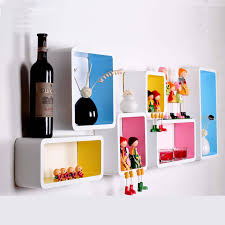 decorating funky decorative wall shelves with different color
