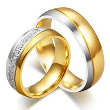 titanium gold rings images Anazoz jewelry his and her for titanium 18k gold plated wedding jpg
