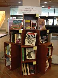 boston college libraries newsletter archives a book display that reads answer wall recommended eading
