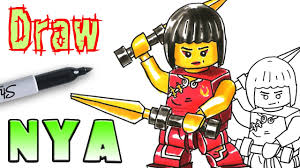 how to draw ninjago nya lego coloring pages youtube