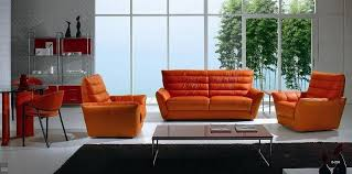 Orange Living Room Set Orange Leather Sofa Living Room Set Connecticut 2 369 00