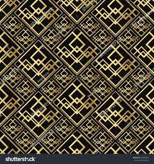 seamless pattern art deco style black stock vector 534958762