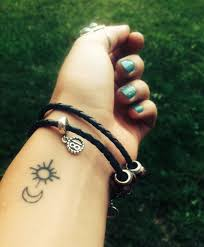 small sun and moon tattoos on wrist in 2017 photo pictures