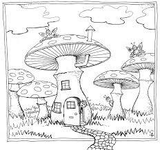mushroom residence colouring in drawing suitable for children