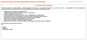 accounts executive work experience certificate