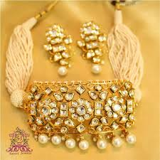 jewellery choker necklace images Buy royal kundan pearl choker necklace set online JPG