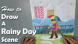 how to draw a rainy day with oil pastel for kids youtube