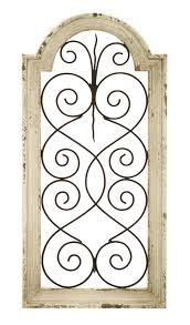 distressed antiquelook white shabby scrollwork metal wall art