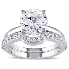 bridal ring set miadora 10k white gold created white sapphire solitaire bridal