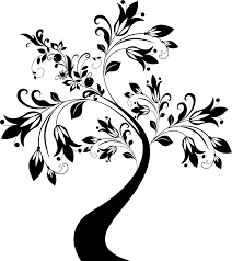clipart floral tree black