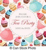 vector clip art of elegant tea party invitation template with