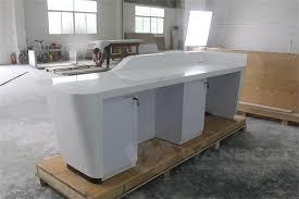 2 Person Reception Desk 2 Person White Corian Artificial Stone Reception Desk