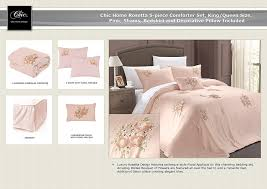 amazon com chic home rosetta 5 piece comforter set king pink
