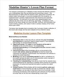 lesson plan template hunter sle madeline hunter lesson plan 10 documents in pdf word