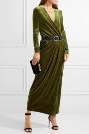 marlene birger by malene birger milda gathered wrap effect stretch velvet maxi