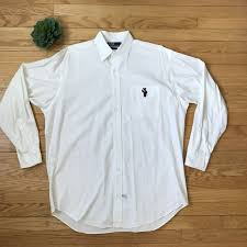 martini big polo ralph lauren martini bear big dress shirt 90 u0027s rare white