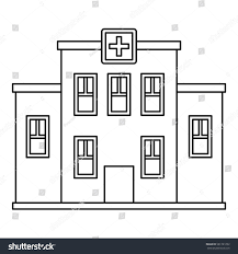 hospital building icon outline illustration hospital stock vector