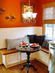 corner booth seating for kitchen with traditional wooden table