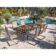 Patio Dining Set With Bench - monaco 7 piece dining set with spring sling chairs and glass top