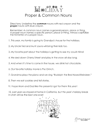 common vs proper nouns christmas winter holidays worksheet