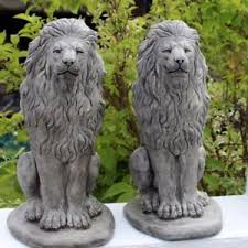 lions statues lion statues all weather gatepost lions pair of
