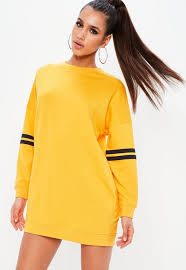 yellow sweater dress yellow dropped shoulder stripe trim sweater dress missguided