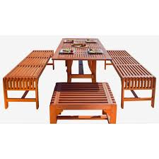 Outdoor Dining Bench Vifah V189set12 Malibu 5 Piece Eco Friendly Wood Outdoor Dining