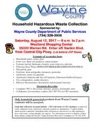 household hazardous waste collection events are sponsored by the