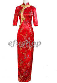 red with green double fish brocade dress sct269 custom made