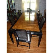 black lacquer dining room chairs century black lacquer burled wood dining set chairish