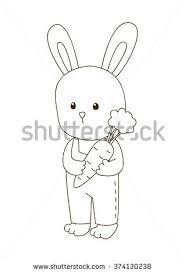 cute cartoon bunny coloring book stock vector 374130238 shutterstock