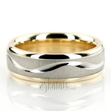 wedding ring designs wave design two tone wedding ring tt225 14k gold