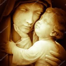 the virgin mary carrying baby jesus u2014 stock photo kmiragaya