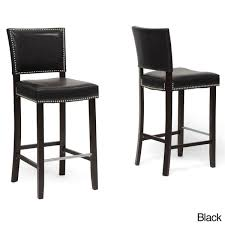 Black And White Bar Stool Traditional Faux Leather 30